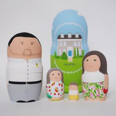 Set of family nesting dolls.