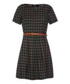 Green & Orange Plaid Belted Dress #zulily #zulilyfinds