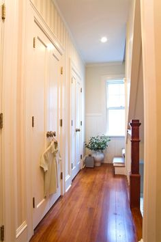 Stairway Landing Hallway - Striped Wallpaper - Step Runner - Custom Trim and Millwork