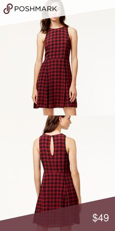 """NWT Sanctuary Red Plaid Dress NWT Sanctuary Sleeveless Red Plaid Dress featuring a key hole back closure and hidden side zipper. Fully lined. Measures pit to pit 18""""/ waist 15""""/ length 36"""". Made of viscose/ Rayon blend. Sanctuary Dresses"""