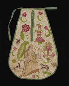 Early 18th century, England - Pocket - Linen, wool, silk; embroidery: silk on quilted linen