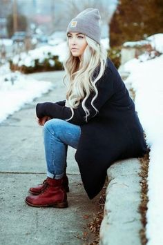 Women's Black Coat, Blue Skinny Jeans, Burgundy Leather Lace-up Flat Boots, Grey Beanie