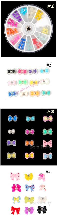 $3.51 24pcs Sweet Candy Bowknot Resin 3D Nail Art Charms w/box - 4 patterns - BornPrettyStore.com