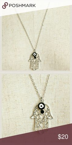 """Jewelry   Silver Hamsa Evil Eye Necklace-4 colors NWT brand new in original packaging // Long Silver Hamsa Evil Eye Necklace // chain: 13"""" + extender for adjustable length // Lobster clasp closure //silver plated filigree hamsa hand, blue turquoise red or black & white evil eye charm / pendant , sparkly black rhinestone // *Nickel & Lead free* // price firm unless bundled Jewelry Necklaces"""