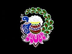 Pongal Rangoli 2020    5x3 Middle Dots Pongal Kolam    Pongal Special Peacock Pot Rangoli With Dots - YouTube Easy Rangoli Designs Videos, Indian Rangoli Designs, Simple Rangoli Designs Images, Rangoli Designs Latest, Rangoli Border Designs, Rangoli Designs With Dots, Rangoli With Dots, Beautiful Rangoli Designs, Free Hand Rangoli Design