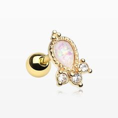 e47890653 Golden Victorian Opal Sparkle Cartilage Tragus Barbell-White/Clear Types Of  Piercings, Ear