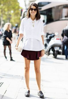 Leandra Medine goes for a tomboy-meets schoolgirl look // #StreetStyle