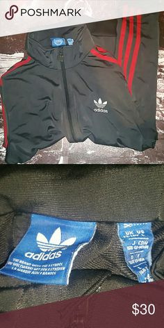 🔥Adidas🔥 Track Jacket 🔥Navyish with Red Stripes on the sleeves  🔥13-14Y or a kids large  🔥Can be worn as a women small  🔥Practically new condition   🔥Zipper Pockets  👉Negotiable👈 Adidas Jackets & Coats