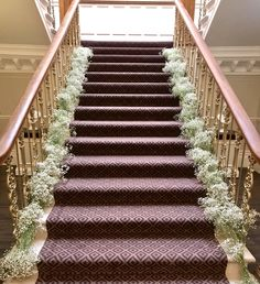 Stunning staircase at Ashfield House dressed in beautiful fresh babies breath. Babies Breath, Civil Ceremony, House Dress, Bridal Flowers, Floral Wedding, Floral Design, Stylists, Fresh, Weddings
