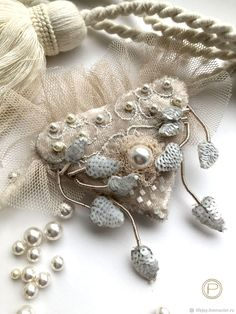 Brooch Delicate heart Embroidery on velvet Pearls Swarovski – shop online on Livemaster with shipping
