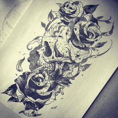 [花/骨] #tattoo #painting #illustration #skull #rose #flower #blackwork #blackworkers #blacktattoo #blackandgreytattoo #tattoodesign