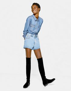 53080d1769f Bershka Croatia - Flat elastic velvet over-the-knee boots Over The Knee  Boots