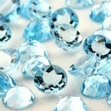 "Faceted Blue Brazilian Aquamarine Gems Round Perles Collier 18/"" Noble 10 mm"