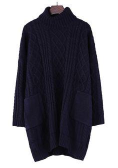 Dark Blue Plain Pleated High Neck Thick Cotton Blend Sweater