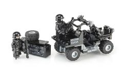 https://flic.kr/p/ubHMwN | Black Ops UTV Sniper Team | World War Brick Minneapolis event kit. Has the following features: • Two minifigs with BrickArms load out and custom printed heads from Citizen Brick. • BrickArms proto M249 SAW with custom printed & drilled BA crate. • Custom printed panels for WWB Minneapolis.