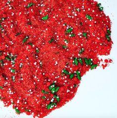 Red Glittery Holly Sprinkle Mix by Little Waisted & Bakery Bling. Bakery Bling by Little Waisted - Edible Glitter Sugar Sprinkle Mixes. Sold at select Michael's Stores and online at Amazon, Etsy and littlewaisted.com. Check out all of our edible glitter sugar & salt products - sprinkles, cocktail rims & liquor coming soon!
