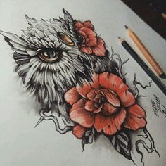 hibou et fleur tattoo