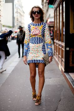 STREET STYLE SPRING 2013: PARIS FASHION WEEK - Natalie Joos wears her Jimmy Choos with a patchwork mini.