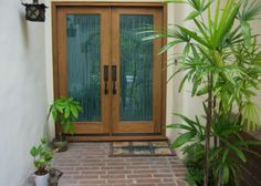 double front door with obscure glass and design. privacy AND open air feel rolled into one! Front Door Plants, Front Door Colors, Glass Front Door, Front Door Decor, Glass Door, Double Front Entry Doors, Double Doors Exterior, Exterior Trim, Door Entryway