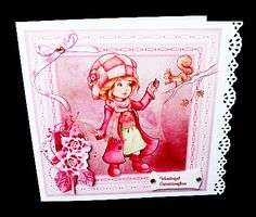 winter wishes card on Craftsuprint designed by Cynthia Berridge - made by Diane Hitchcox - I printed out onto 220 gram card ,mounted on a border punched card ,decoupaged using sticky pads and added small gems. - Now available for download!