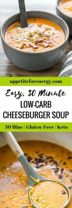 If you've had a busy day or week, then Easy Low Carb Cheeseburger Soup will revive your soul with just one pot, 30 minutes and maybe a little bacon. Low-carb cheesburger soup |ketogenic diet cheeseburger soup|bacon cheeseburger soup | easy cheeseburger soup| gluten free soup #LowCarbCheesburgerSoup |#KetogenicDietCheeseburgerSoup|#BaconCheeseburgerSoup| #EasyCheesburgerSoup| #GlutenFreeSoup #KetoSoup via @appetitefornrg