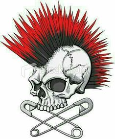 illustration of a punk rock skull with mohawk and crossed safety pins db771628ad8