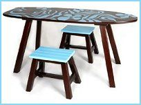 Surf table and 2 Stools, featuring, surf motif and shaped table top as surf board