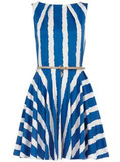 Blue belted flared dress