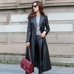 Newest-Formal-Women-039-s-Long-Trench-Coat-Faux-Leather-Slim-Belt-Jacket-Windbreaker