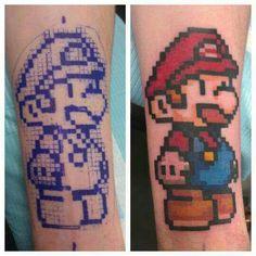 8 bit mario tattoo