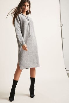 Product Name:Marled Hooded Sweater Dress, Category:dress, Price:45
