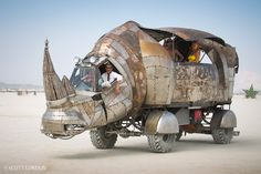 Rhino Redemption, one of the most talked-about mutant vehicles at Burning Man 2014, was created by Petaluma artist Kevin Clark. (Photo by Scott London)