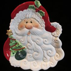 Fitz & Floyd Merry Christmas Santa Claus Canape Plate  New in Box