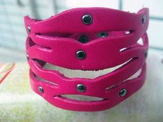 Charming Leather Rivet Bracelet With Metal Snapper by sevenvsxiao, $8.00