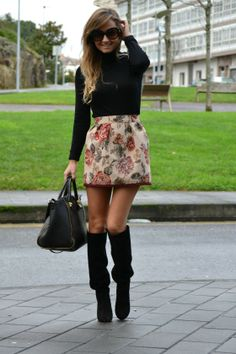 Winterized floral skirt