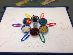 We drew a variety of patterns on a large sheet of paper, we then set up a range of different resources for the children to use to follow the patterns. We also added the tweezers to create extra opportunities to practice using our fine motor skills :)