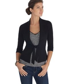 I have a similar sweater from WHBM White House | Black Market Shawl Tie 3/4 Sleeve Black Coverup #whbm