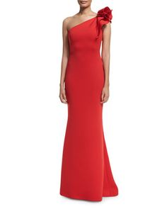 Pleated+One-Shoulder+Column+Gown,+Tomato+by+Jovani+at+Neiman+Marcus.