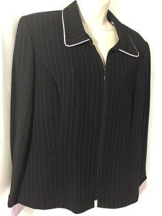 6fe949075 Perceptions By Irene B Ladies Jacket Black Pin Stripe Sz 12 Women s Blazer   Perceptions