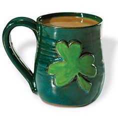 Pottery Mug, Gift Mug, Shamrocks, Saint Patrick's Dayhummmm maybe for Neal for ST P Day?