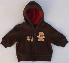 Gymboree Gingerbread Boy Brown Fleece Hoodie Sweater Sz 0-3 Months NWOT #Gymboree #HoodieJacket #DressyEveryday