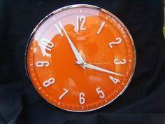 RETRO ORANGE KITCHEN CLOCK METAMEC WORKING VINTAGE 1950s1960s