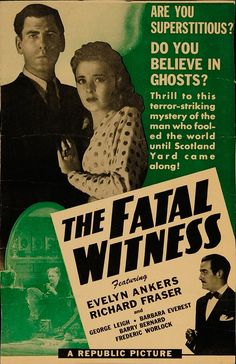 """The Fatal Witness 1945 Authentic 12"""" x 18.625"""" Original Movie Poster Never Folded Evelyn Ankers Mystery U.S. Window Card"""