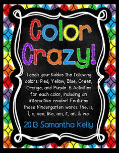 Everything you need to teach the colors red, yellow, green, blue, purple, and orange! Your kiddos will be writing, spelling, and identifying the colors in no time!