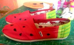Sweet Feet Summer Sale Watermelon Hand Painted TOMS Shoes by ecolindy, $95.00 free shipping in July