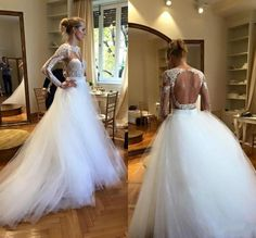 Modest White Long Sleeves Wedding Dresses Cheap Scoop Lace Appliques Open Back Beach Bridal Dress Ball Gowns Sheer Tulle