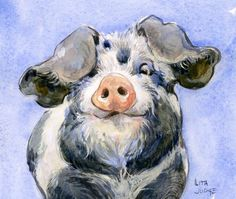 Materials For Oil Painting Art Aquarelle, Art Watercolor, Watercolor Animals, Cow Painting, Painting & Drawing, Pig Drawing, Animal Paintings, Animal Drawings, Drawing Animals