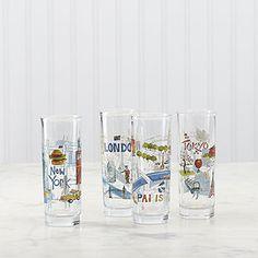travel themed shot glasses for travel themed trunk bar.  Cities Shot Glasses, Set of 4 | World Market