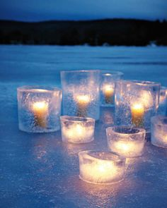 Ice Hurricane candle holders from Martha Stewart Living.<br> These ice hurricanes require time to freeze (ideally, they should be left outdoors overnight), so be sure to make them at least a day before your party. Winter Fun, Winter Holidays, Outdoor Christmas Decorations, Christmas Crafts, Christmas Tables, Nordic Christmas, Modern Christmas, Christmas Time, Wedding Decorations