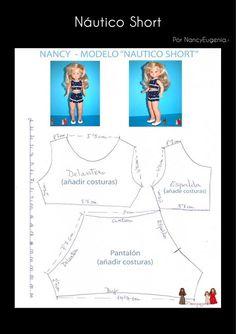 Revista de entretenimiento muñequil El Club Nancy de Famosa                                                                                                                                                                                 Más Diy Barbie Clothes, Girl Doll Clothes, Girl Dolls, Doll Dress Patterns, Clothing Patterns, Anerican Girl, Vestidos Nancy, Ropa American Girl, Nancy Doll